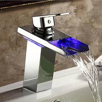 L-92485 Beautiful LED Waterfall Spout Brass Chrome Deck Mounted Bathroom Faucet Mixer Basin Sink Tap Basin Faucet