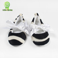 Retail Baby toddler shoes ! Plush black and white zebra toddler shoes fashion infant frist walkers LittleSpring GLZ-X0014