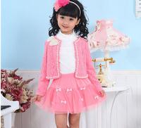 2014 new arrival  girl 3pcs set   coat+ t shirt + skirt , 4color,