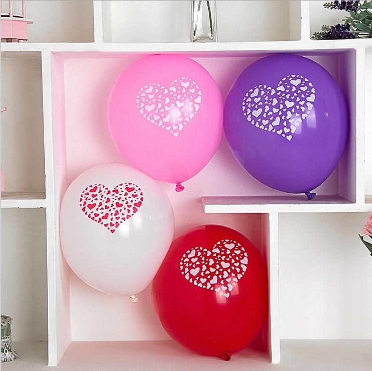 100pcs/lot Heart Printed I Love U Novelty Balloons Wedding/ Valentine's Day Supplies 12 inch Thicken Latex Ballons(China (Mainland))
