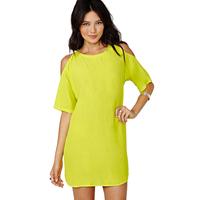 Sexy Temperament Of Hollow Out Off-the-shoulder Yellow Dress Free Shipping 2014 Summer New M,L,XL,XXL,XXXL,XXXXL,XXXXXL 13916