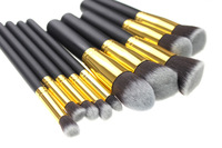 2Sets No Logo No Brand Brushes Makeup 10pcs Set Golden makeup brush set  Synthetic Hair Brushes Tools Soft Smooth