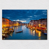 Supply Canvas prints modern city paintings of Europe Italy Venice light view from photo to hang on sofa wall free shipping