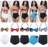 Sexy High Waist Set TOP+Bottom Bikini Swimsuit Swimwear UK Size 6 8 10 12