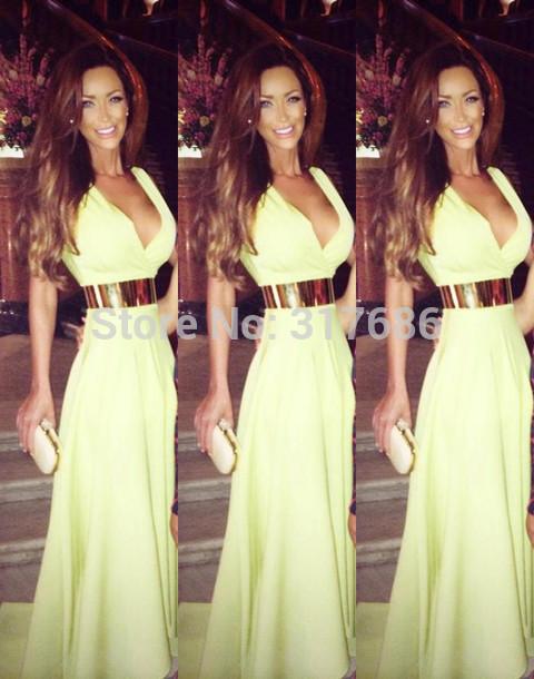 Dress Green Neon Summer Sexy Glam Gold Belt Evening Fun 2014 Low Green Dress Elegant Gold Belt Evening Dresses Free Shipping B15(China (Mainland))