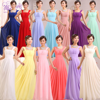 Double-shoulder chiffon bridal formal dress toast 2014 bridesmaid dress long design XS-3XL Big SIze LS435