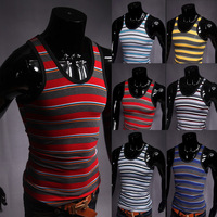 Classic male fashion stripe elastic vest