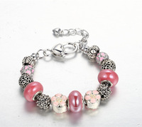 2014 Delicate women girl pink flower charm Bracelet European Murano Glass Beads Silver Snake Chain DIY Jewelry Free shipping