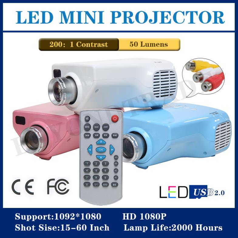 New 2014 LED Projector 1080P Full HD Multimedia Support Mini Projector For iPhone TV Video Portable For Home Theater(China (Mainland))