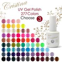 3 pcs Cristina UV Gel Nail Polish Professional Shellac,Temperature Change,Luminous Color 277 Colors 15ml 0.5oz drop shipping
