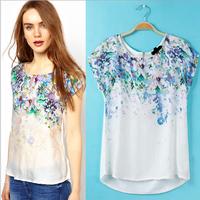 2014 New Fashion Ladies' Vintage Retro Floral Print Blouse Shirt Women Silk Patchwork Blouse Short Sleeve Brand design Blusas