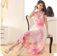 Ultra long V-Neck Pint Butterfly Flowers New 2014 Summer Women's Big 5XL Chiffon Dress Lace Patchwork One-piece Dress S-4XL 5XL