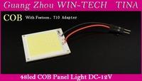 10pcs X 6W COB Chip 48 led LED Car Interior Light T10 Festoon Dome light Adapter 12V Wholesale Car Vehicle LED Panel