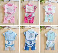 baby jumpsuit baby Romper baby climbing clothing  Kids Summer new models romper+pant+bib+sock 4 pieces/set