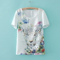 Free Shipping Womens Sheer White Chiffon T-shirt Floral Leopard Head Print T-shirt [3 WTS304]