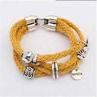 2014 Fashion Multilayer Braided Cord Heart Charm Bracelet Women Wholesale