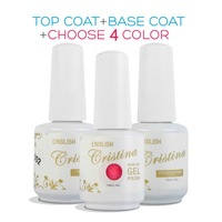 Cristina Choose 4 Colors +Base Coat Top Coat,Temperature Gel,Luminous Color Soak Off Nail Polish Led Gel Builder