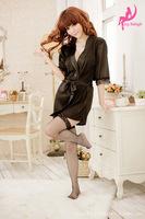 sexy lingerie Sexy black shiny cardigan bathrobe nightgown pajamas sexy lingerie manufacturers supply 1044pajamas