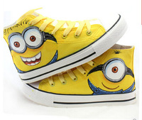 Free Shipping 2014 new Cute Despicable Me Children Shoe  Hand-painted canvas Casual sports Sneakers shoes for Girl  boy shoes