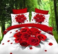 3D bedding set bedclothes 3d printed 4pcs (1 Duvet Cover +1 bed sheet +2 pillowcases) 100% cotton bedding set TY-TY