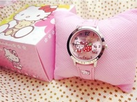 Fashion Plastic Quartz Wristwatches,New Style Hello Kitty watch with box Kids Cartoon Watch with box Transparent pink 5color