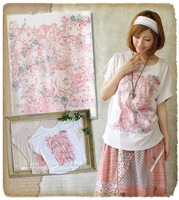 Summer women's rose loose batwing sleeve casual t-shirt floral beautiful top tee forest mori japan style