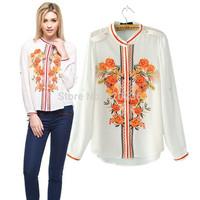 Free shipping  2014 Hot Sale  Girls'  Stand Collar Orange Flower Pattern Blouse ladies Womens  blouse