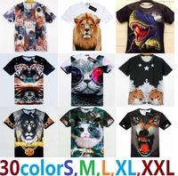3D02 2014 fashion hip hop super deal men women leopard/lion skull/animal Funny 3D tops tee boys girl t-shirt clothing tshirt