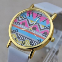 Fashion Casual Big Ripples Totem Gold Dial Leather Band Lady Women Girl Quartz Wrist Watch