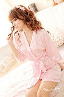 Robe bathrobe sexy sleepwear sexy lingerie pink shiny cardigan manufacturers supply  1046 pajamas
