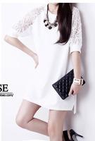 2014 summer autumn plus size clothing one-piece dress fashion lace loose slim basic female size S-3XL40-80kg