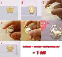 24pcs/lot, Crown creative wedding souvenir favors gold metal bookmark set for books/wedding invitations, wholesale bookmarks