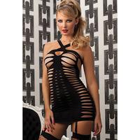 Fashion popular sexy spaghetti strap hot black o-neck cutout women's underwear nightgown 21203
