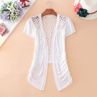sweaters New 2014 women fashion Lace Sweet Candy Color Crochet Knit Blouse Sweater Cardigan