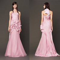 Free Shipping Pink Hot New Mermaid Custom Made Invisble Zipper Floor Length Off the Shoulder Vera 2014 Wedding Dresses