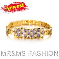 Free shipping wholesalse high quality 18K gold plated AAA zircon rhinestone jewelry fashion crystal women brand bracelet KS415