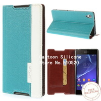 Free shipping +Champagne Cross Texture Card Holder Stand Leather Case for Sony Xperia Z2 D6502 D6503 D6543
