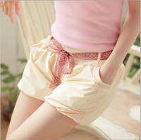 2014 spring and summer new Korean bow chiffon women's casual beach lacing short bloomers pant Lady