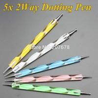 Cheapest!!2014 New 5Pcs 2-way Dotting Pen Marbleizing Tool Nail Polish Paint Manicure Dot Nail Art Set