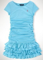 Free Shipping POLO dress girl ,wholesale fashion brand princess dress for girls dresses summer 2014 baby girl clothes