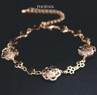 HEB056 Wholesale 14K Rose Gold Plated Zirconia Daisy Flowers Bracelets Fashion Jewelry pulseras Mujer 2014 pulseiras femininas