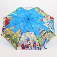 Fashion oil painting automatic umbrella folding three fold umbrella anti-uv sun-shading uv sunscreen