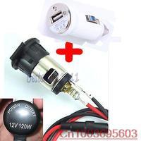 12V 120W Car Motorcycle Cigarette Lighter Power Socket Plug + White USB Charger