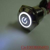 2pcs 16mm White Power Symbol&angle eye 12V LED Push Button Metal ON/OFF Switch