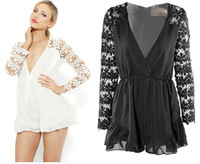 2014 New Arrival Women Sexy Deep V White Black  Lace Hollow Out  Playsuit  Long Sleeve Jumpsuit Free Shipping #J003