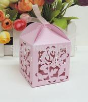 laser cut candy box ,rose,flower candy box .wedding box 5*5*7.5h cm