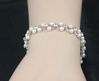 HEB059 Wholesale 14K Rose Gold Plated Simulated pearl Bracelets Fashion Jewelry pulseras Mujer pulseiras femininas