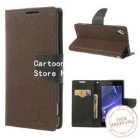 For sony xperia z2 D6503 ,Mercury Fancy Diary Leather Card Slot Case Stand for Sony Xperia Z2 D6503 Free shipping