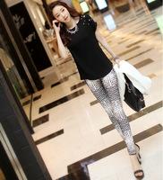 2014 spring and summer new Korean version snake skin stripe patterns nine points women slim leggings
