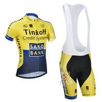 New 2014 Tinkoff Saxo Bank Short Sleeve Jersey + Cycling Bib Shorts Kit 2014 Cycling Clothing / Cycling Jersey / Cycling Shorts